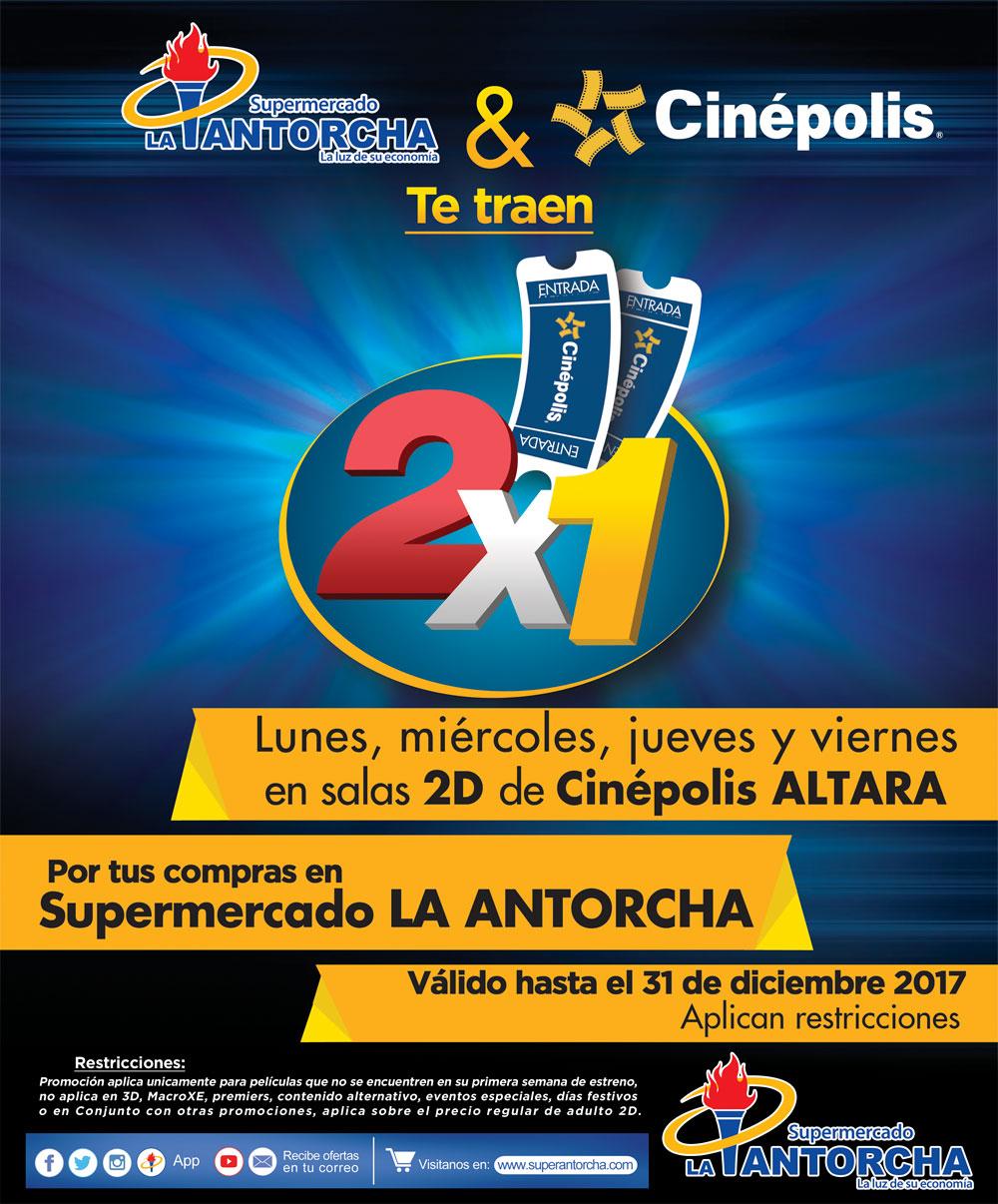 Supermercado Antorcha y Cinepolis te traen el 2×1